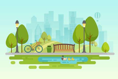 Parque de la ciudad Decoración urbana al aire libre, parques de elementos y callejones Ilustración vectorial.