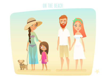 island: People on the beach, family, surfer, friends, couple and kids. Vector illustratin.