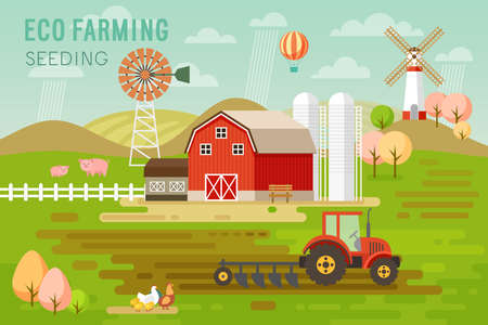 green environment: Eco Farming concept with house and farm animals. Vector illustration. Illustration