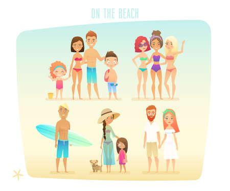 Les gens sur la plage, la famille, les surfeurs, les amis, les couples et les enfants.