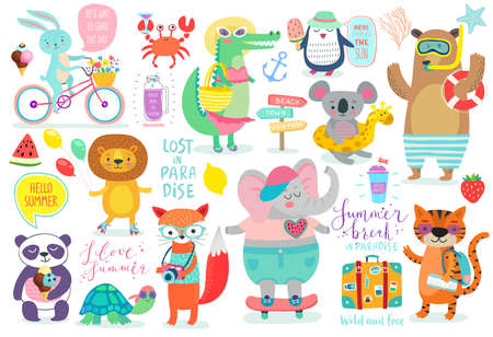 Animals hand drawn style, Summer set - calligraphy and other elements. Vector illustration. Vettoriali