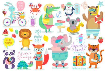 Style de dessin animé aux animaux, ensemble d'été - calligraphie et autres éléments. Illustration vectorielle. Vecteurs