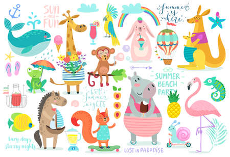 postcard: Animals hand drawn style, Summer set - calligraphy and other elements. Vector illustration
