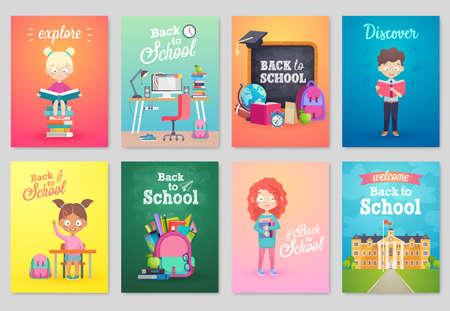 girl: Back to School card set, school kids, chalkboards, equipment. Vector illustration.