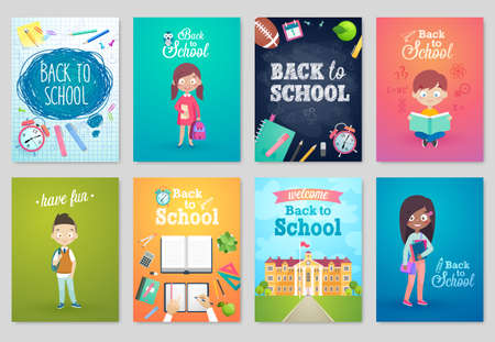 Back to School card set, school kids, chalkboards, equipment. Vector illustration.