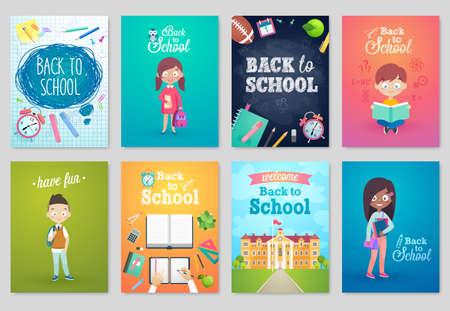 Terug naar schoolkaart set, schoolkinderen, krijtborden, apparatuur. Vector illustratie.
