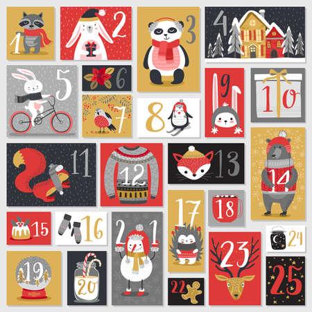 calendario del advenimiento de la Navidad, estilo dibujado a mano. Ilustración del vector. Ilustración de vector