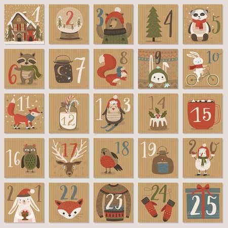 Christmas advent calendar, hand drawn style. Vector illustration. Vettoriali