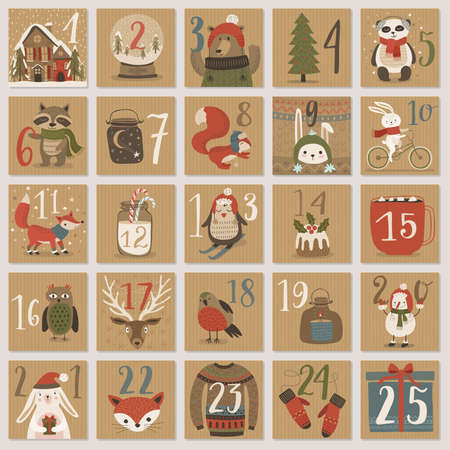 layout: Christmas advent calendar, hand drawn style. Vector illustration. Illustration