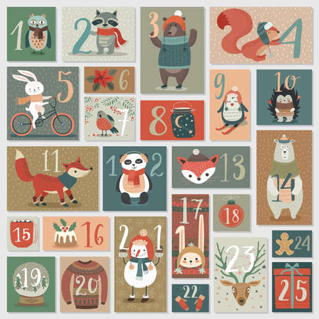 Christmas advent calendar, hand drawn style. Vector illustration. Illusztráció