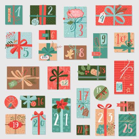 クリスマスアドベントカレンダー、手描きスタイル。ベクターイラスト。