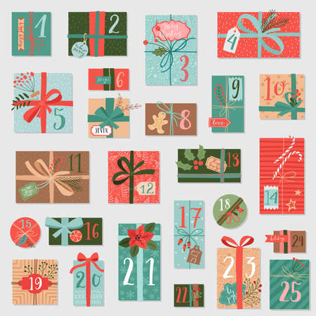 Christmas advent calendar, hand drawn style. Vector illustration. 向量圖像