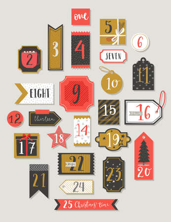 Christmas advent calendar, hand drawn style. Vector illustration. 矢量图像