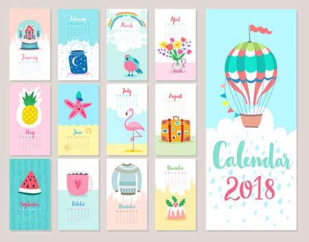 Calendar 2018. Cute monthly calendar with forest animals.