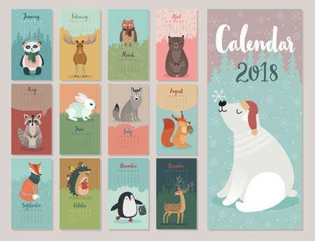 Calendar 2018. Cute monthly calendar with forest animals. Banco de Imagens - 86736661