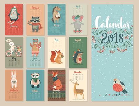 カレンダー 2018.森の動物とのかわいい月間カレンダー。  イラスト・ベクター素材