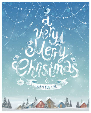 A very merry Christmas Poster Vector illustration.