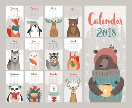 Calendar 2018. Cute monthly calendar with forest animals. Vector illustration. Çizim