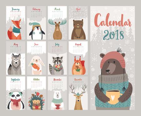 Kalender 2018. Leuke maandelijkse kalender met bosdieren. Vector illustratie.