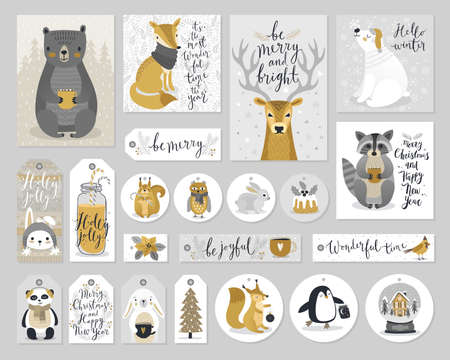 christmas cards and gift tags set hand drawn style vector