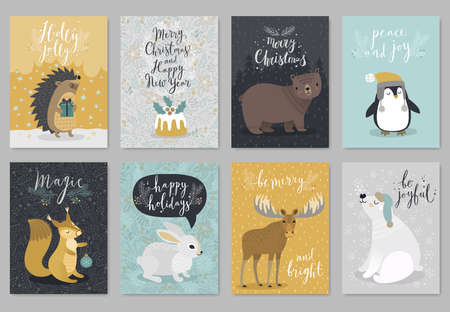 Christmas animals card set, hand drawn style. Vector illustration. Çizim