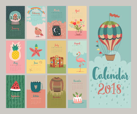 Calendar 2018. Cute monthly calendar. Vector illustration.