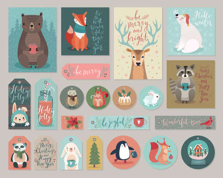 Christmas cards and gift tags set, hand drawn style. Vector illustration. Vettoriali
