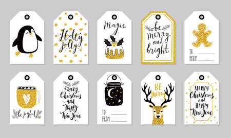 Christmas gift tags set, hand drawn style. Vector illustration.