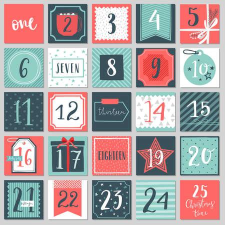 Calendário do advento de Natal, estilo mão desenhada. Ilustração vetorial