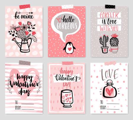Insieme di carta di San Valentino - stile disegnato a mano con la calligrafia. Illustrazione vettoriale