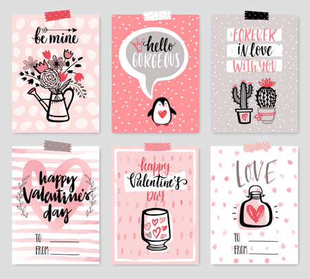 Valentinstagskartensatz - handgezeichneter Stil mit Kalligraphie. Vektorillustration.