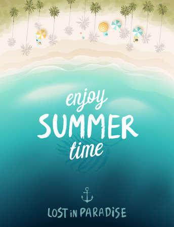 ●夏のテーマカードパターンベクトルイラスト。