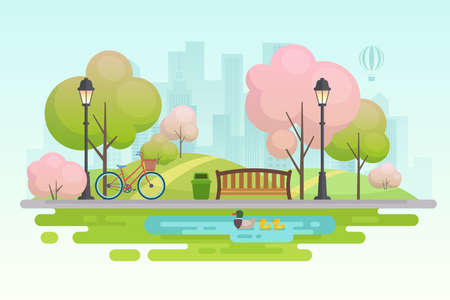 City spring park vector illustration. 向量圖像
