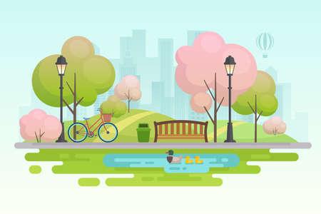 City spring park vector illustration. Illusztráció