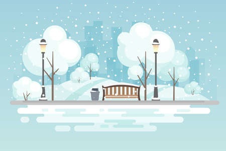 Winter City park vector illustration. Vettoriali