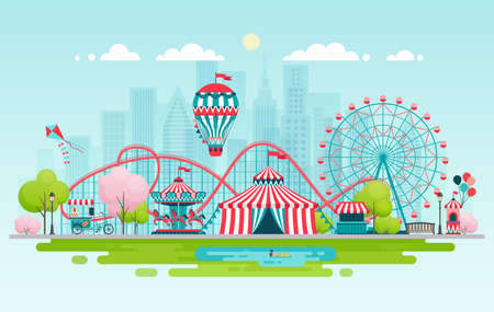Amusement park, urban landscape. Vector illustration.