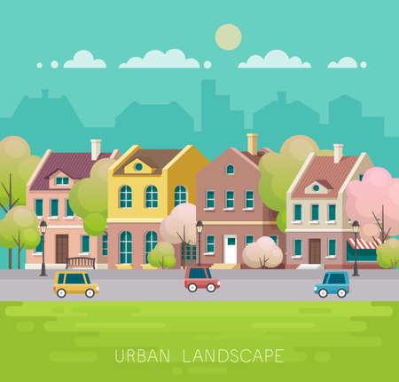 Spring cityscape. Vector illustration. Illustration