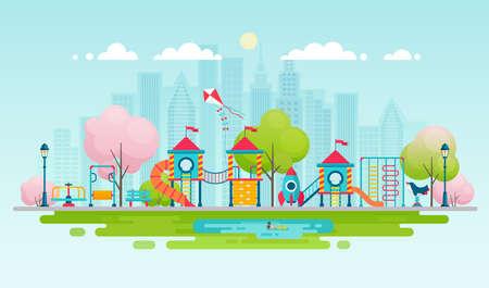 Kinderenspeelplaats met speeltoestellen, stadspark met buitendecor. Stock Illustratie