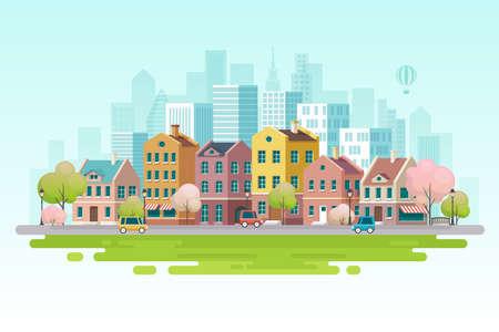 Spring cityscape. Vector illustration. 일러스트