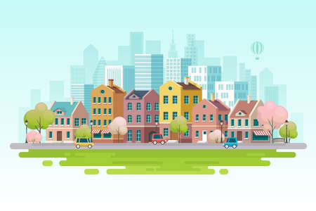 Paysage urbain de printemps. Illustration vectorielle Vecteurs