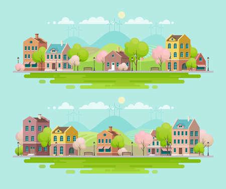 Primavera in piccola città. Paesaggio urbano. Illustrazione vettoriale Archivio Fotografico - 94970650