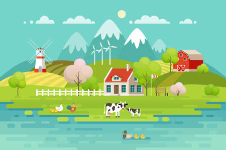 Spring Village landscape, Eco living. Vector illustration. Illustration