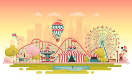 Amusement park, urban landscape. Vector illustration. Imagens - 96436750