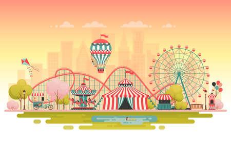 Parque de atracciones, paisaje urbano. Ilustracion vectorial Foto de archivo - 96436750