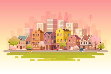 Urban landscape background.Vector illustration. Illustration