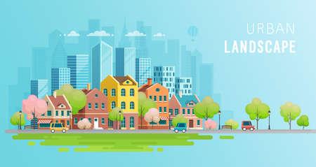 Urban landscape background.Vector illustration.  イラスト・ベクター素材