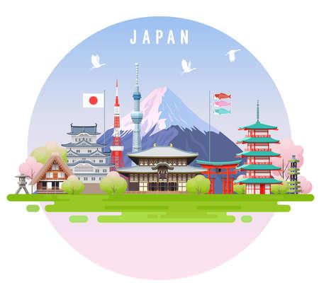 日本旅行インフォグラフィック。ベクトル旅行の場所やランドマーク。