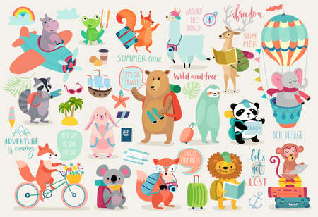 Travel Animals hand drawn style, Calligraphy and other elements vector illustration
