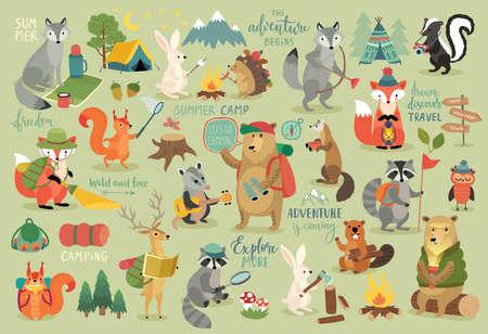 Animales de camping estilo dibujado a mano, caligrafía y otros elementos. Ilustración vectorial