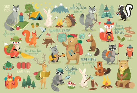 Camping Animals hand drawn style, Calligraphy and other elements. Vector illustration.